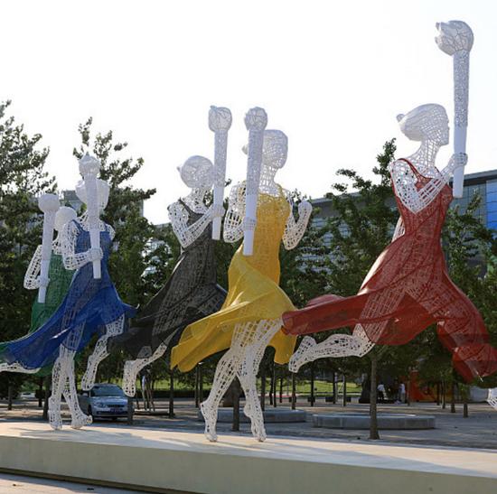 公园不锈钢烤漆雕塑